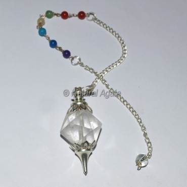 Octahedron Crystal 7 Chakra Pendulum