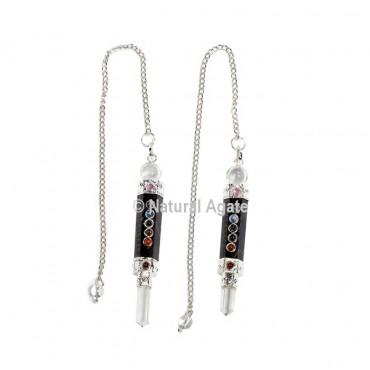 Black Tourmaline Seven Chakra Pendulums