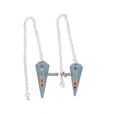 Angelite 6 Faceted Seven Chakra Pendulums
