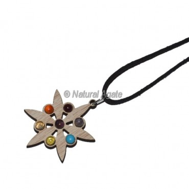 Flower Wooden Chakra Pendants