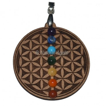 Flower Of Life 7 Chakra Wooden Pendants
