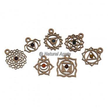 7 Chakra Wooden Pendants Set