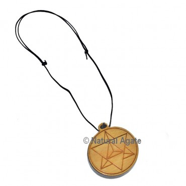Pentagram Engraved Wooden Pendants