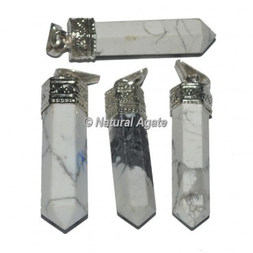 Agate White Howlite Cap Pencil Pendants