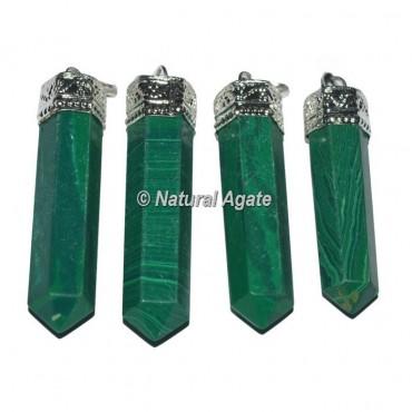 Malachite Agate Cap Pencil Pendants