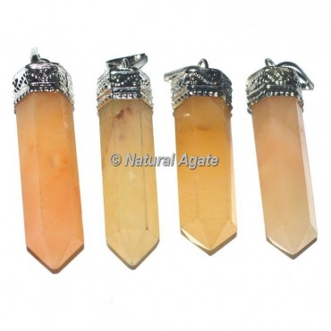 Golden Quartz Agate Cap Pencil Pendants
