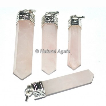 Rose Quartz Agate Cap Pencil Pendants
