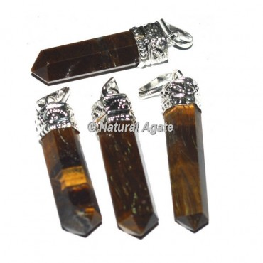 Tiger Eye Agate Cap Pencil Pendants