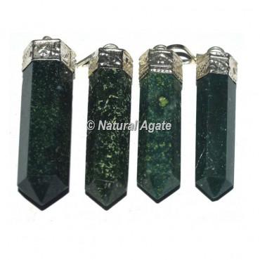 Moss Agate Cap Pencil Pendants