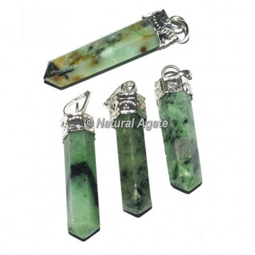 Green Zoisite Pencil Cap Pendants