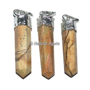 Picture Jasper Pencil Cap Pendants