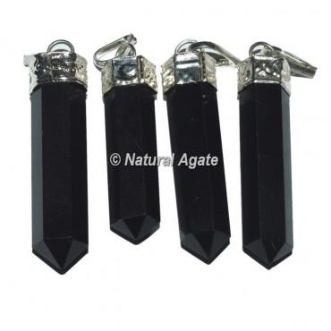 Black Agate Agate Cap Pencil Pendants