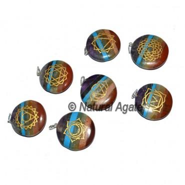 Bonded Chakra Disk Pendants Set