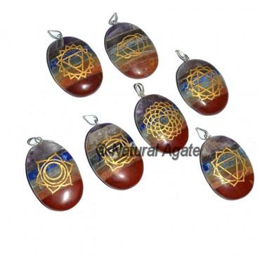 Bonded Chakra Oval Pendants Set