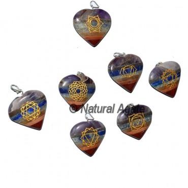 Bonded Chakra heart Pendants Set
