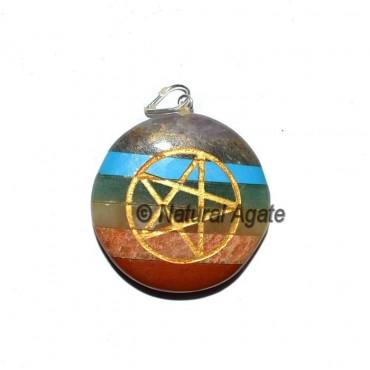 Pentagram Bonded Chakra Disc Pendants