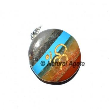 Om Bonded Chakra Disc Pendants