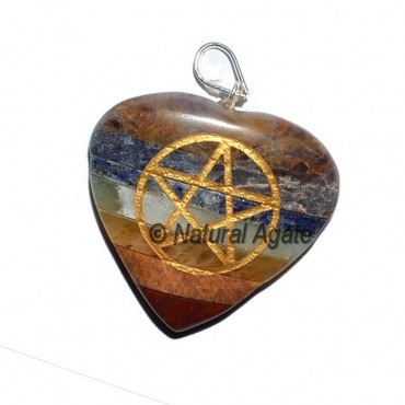 Pentagram Bonded Chakra Oval Pendants
