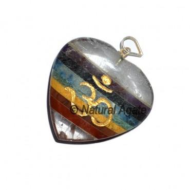 Quartz Chakra Heart Om Pendants
