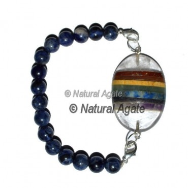 Seven Chakra Oval With Sodalite Beads Bracelet