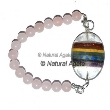 Rose Quartz With Seven Chakra Oval Bracelet