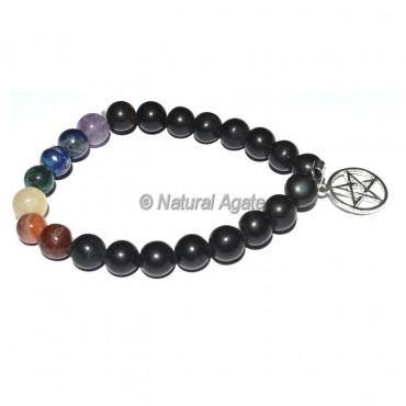 Seven Chakra Bracelet with Pentagram Charm