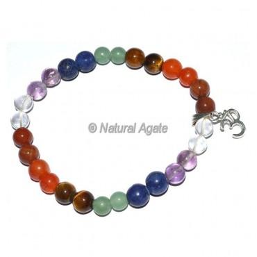 Seven Chakra Bracelet With Om Charm