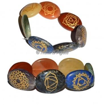 Engraved Seven Chakra Oval Bracelet