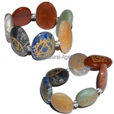 Engraved 7 Chakra Oval Bracelet For Sale