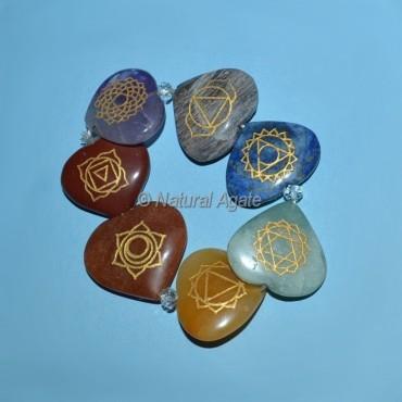 7 Chakra Engraved Hearts Bracelet