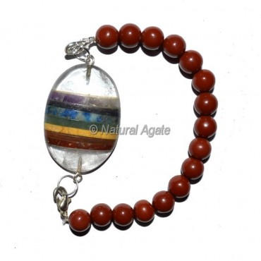 Seven Chakra Oval With Red Jasper Beads Bracelet