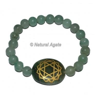 Chakra Heart Symbol Engraved Oval Bracelets