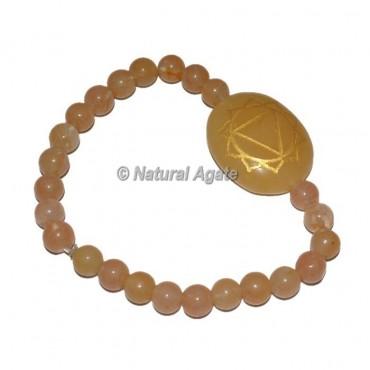 Solar Chakra Symbol Engraved Oval bracelets
