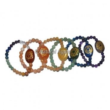 Multi Chakra Symbol Engraved Chakra Set Oval Bracelets