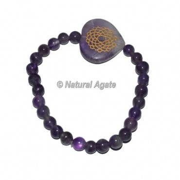 Crown Chakra Symbol Engraved Oval Bracelets