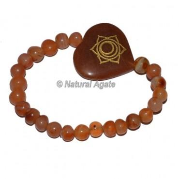Spleen Chakra Symbol Engraved Heart Shape Bracelets
