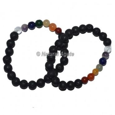 Lava Stone Seven Chakra Bracelets