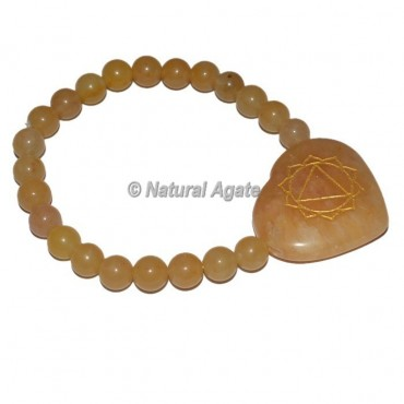 Solar Chakra Symbol Engraved Heart Shape Bracelets