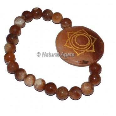 Spleen Chakra Symbol Engraved Round Bracelets