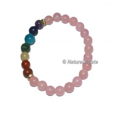 Rose Quartz Stone Seven Chakra Bracelets