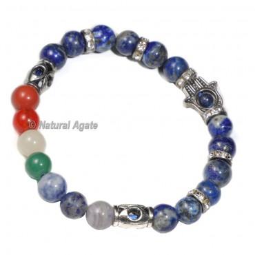 7 Chakra Lapis lazuli Bracelet with Hamsa