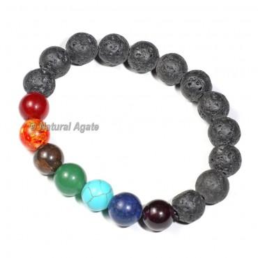 Lava Stone 7 Chakra Bracelet