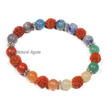 Rudraksha Bracelet with Chakra Beads