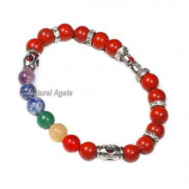Red Jasper Bracelet with 8mm Chakra Beads