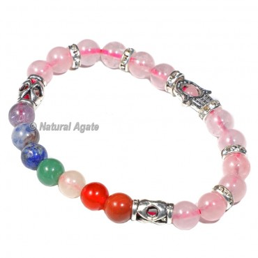 Seven Chakra Bracelet with Rose Quartz