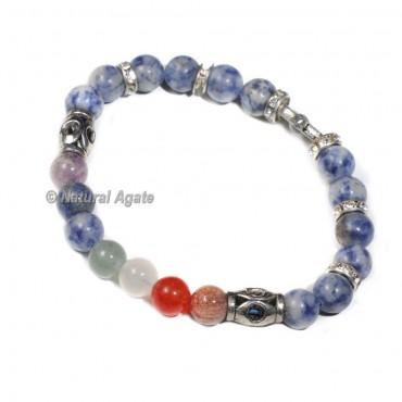 7 Chakra Hamsa Bracelet with Sodalite