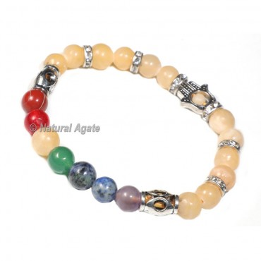 Calcite Bracelet with 7 Chakra Beads