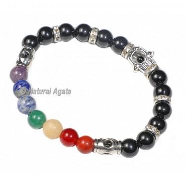 7 Chakra Hamsa Bracelet with Black Agate
