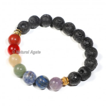 Lava Bracelet With Seven Chakra 8mm Beads