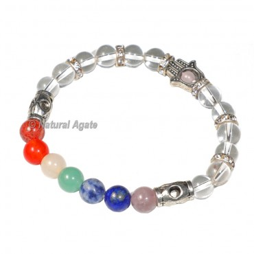 7 Chakra Hamsa Bracelet With Crystal Beads